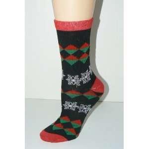 Womens Holiday Argyle Snowflake Socks   Size 9 11