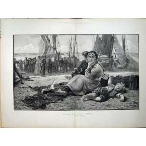 1882 Woman Children Sale Fishing Boat Sea Morris Art Home & Kitchen