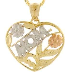 14K Gold Tri Color Mom Rose Flower Leaf Heart Pendant