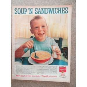 Campbells soup, Vintage 60s full page print ad.(soup and