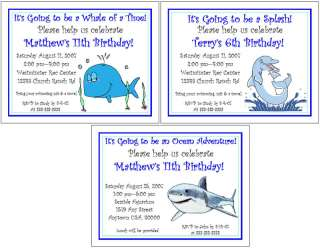 Personalized WHALES SHARKS DOLPHIN BIRTHDAY Invitations