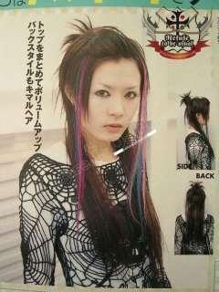PUNK ROCK clip HAIR EXTENSION strip 3x18 Teal+Blue *2PC