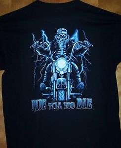 New Black T Shirt  RIDE SKULL BIKERS  Sz Sm   5XL