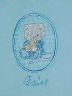 CUTE BLUE CUDDLY TEDDY BEAR FLEECE BABY BLANKET NEW