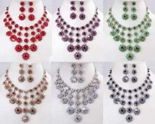 Exquisite Dangle Rhinestone Crystal Wedding Bridal Necklace Earrings