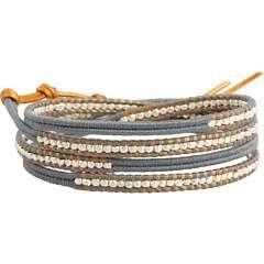 Chan Luu Graduated Silver Nuggets Wrap Bracelet w/ Light Grey Cotton