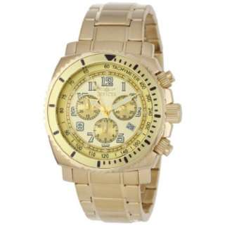 Invicta Mens 0619 II Collection Chronograph Gold Dial 18k Gold Plated