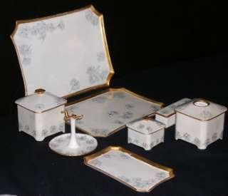 Limoges Hand Painted Ladies Dresser Set Foget Me Nots Design/ Gilt