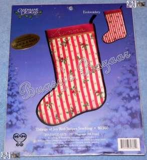 TIDINGS OF JOY STRIPE Embroidery Christmas Stocking Kit