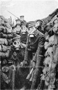 German Soldiers in Trench Gas Masks Preparing to Attack Enemy