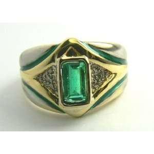 Retro Colombian Emerald Gold & Enamel Ring