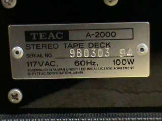 FOR YOUR CONSIDERATIONS AND BIDS.. Vintage TEAC A 2000 Stereo Tape