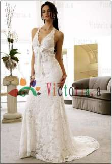 /Ivory Lace Halter Wedding Dresses/Gowns Size6 8 10 12 14 16