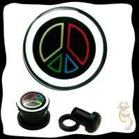 Peace Sign Plugs Red Green Yellow Blue Black Tunnel Gauge Body Jewelry