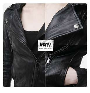 Ladies Womens Chic Vintage Lambskin Black Leather Biker Rider Jacket 4