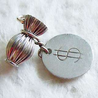 PLEATED MONEY BAG ~ $ SIGN TAG sterling silver charm ~ finance savings