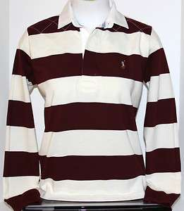 NEW RALPH LAUREN SPORT WOMENS BURGUNDY AND CREAM RUGBY POLO SHIRT SZ S
