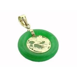 Large Light Green Jade Dragon Ring Pendant, 14k Gold Jewelry