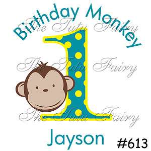 Boy Yellow Blue Mod Monkeyin Monkey Around Birthday Shirt Personalized