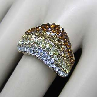 Gold plate ring Swarovski Crystal US Size 7/UK O R101