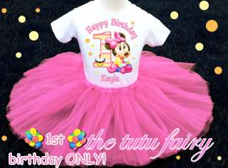 birthday minnie mouse baby shirt & pink tutu set outfit name 12 18 mos