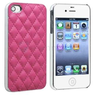 Pink Deluxe Leather Chrome Case Cover For Apple AT&T Verizon iPhone 4S