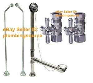 Supply Lines, Valves, Tub Drain Overflow for Clawfoot Tub Chrome