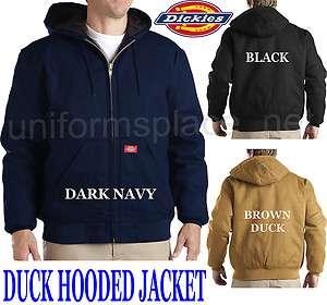 Mens DICKIES Duck Hooded Hoodie Jacket BLACK BROWN Big