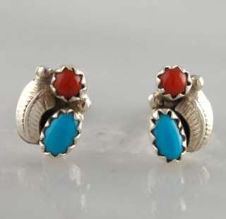 Turquoise & Coral Leaf Post Earrings Navajo Sterling Silver .925