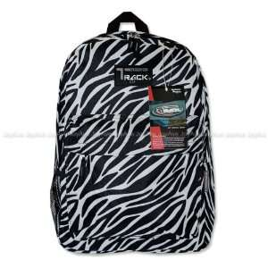 Track Black / white Zebra Backpack School Bag 16.5