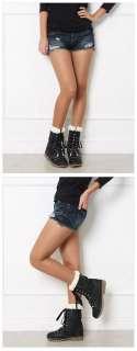 FFeFF / New Womens Shoes Black 1.2 Inch Heels Fur Winter Lace up