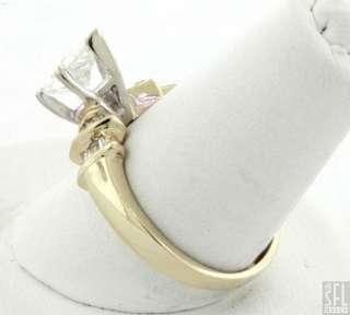 EGL CERTIFIED 14K GOLD 1.20CT PEAR CUT DIAMOND WEDDING RING W/ .90CT