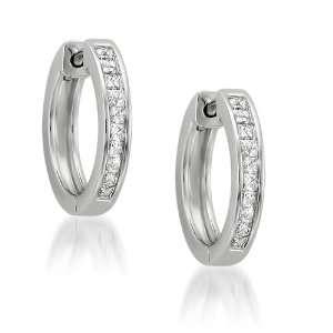 White Gold Princess cut Diamond Hoop Earrings (1/2 cttw, H I, I1 I2