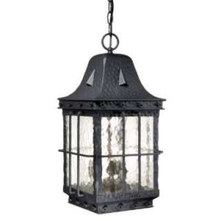 Colonial Outdoor Pendant Lighting Fixture Black, Clear Water Glass