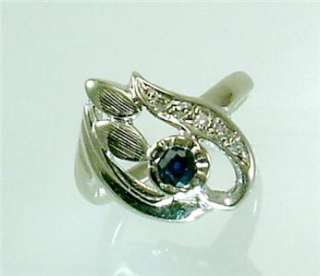 Sapphire Diamond Vintage 14K White Gold Jewelry Ring Old 4 1/4 H1/2
