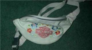 Harley Davidson Bags Leather Clip Hip Purse Embossed B&S + White Fanny