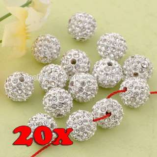 10/20 10mm Austrian Crystal Rhinestone Pave Disco Ball Beads