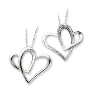 925 Sterling Silver Mother Open Heart Pendant Necklace Jewelry