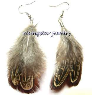 Ethnic Shaman Natural Feather Tribal Style Fashion Earrings