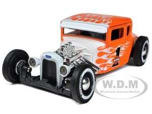 1929 FORD MODEL A HARLEY DAVIDSON ORANGE/WHITE FLAMES #1 1/24 BY