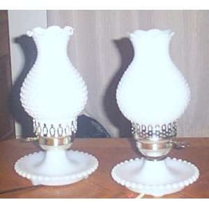 Vintage Pair of Two White Milk Glass Hobnail Lamps W/hurricane Lamp