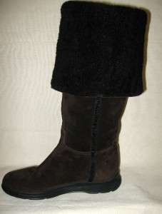 PRADA Dark Brown Suede Tall Boots Lambskin Lined Sz 36