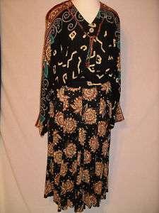 CAROLE LITTLE Artsy Black Red Print Long Skirt Set   4