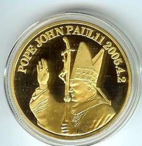 Pope John Paul II   24K Gold Silver Commemorative Coin