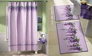 Purple Flower Floral Shower Curtain Bath Mat Rug Set Bathroom Decor
