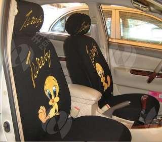 NEW Tweety Bird Car Seat Cover Full Set 10 pcs Black