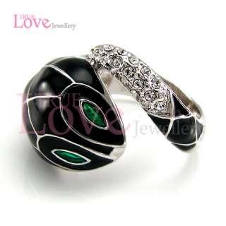 18K White Gold Plated Snake Ring Use Swarovski Crystal RP9052 Free