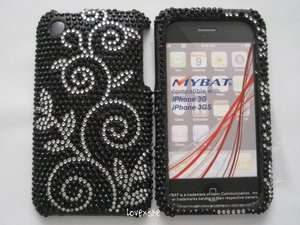 iPHONE 3G 3GS   CRYSTAL DIAMOND BLING HARD CASE COVER BLACK SILVER