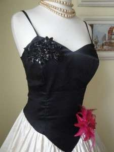 Vintage 80s 50s Party Dress Prom Wedding Holiday Black Satin Sequin