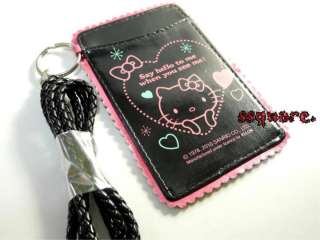 New Sanrio Hello Kitty Card Holder w/ Neck Strap Black